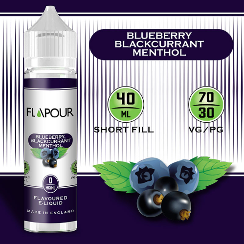 Flapour, Blueberry Blackcurrant Menthol VG70 PG30 - 0mg, E-Liquids, Shortfill, MTL Shortfills